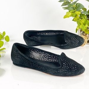 Vince Camuto Flats Black Suede Perforated Slip On